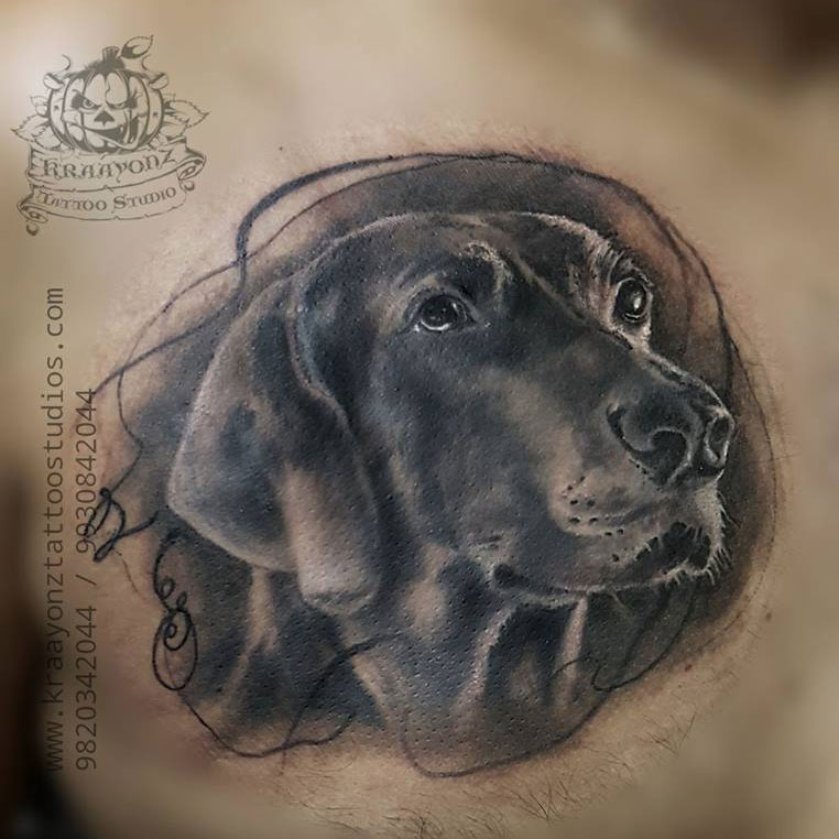 Leo Dog Portrait Tattoo
