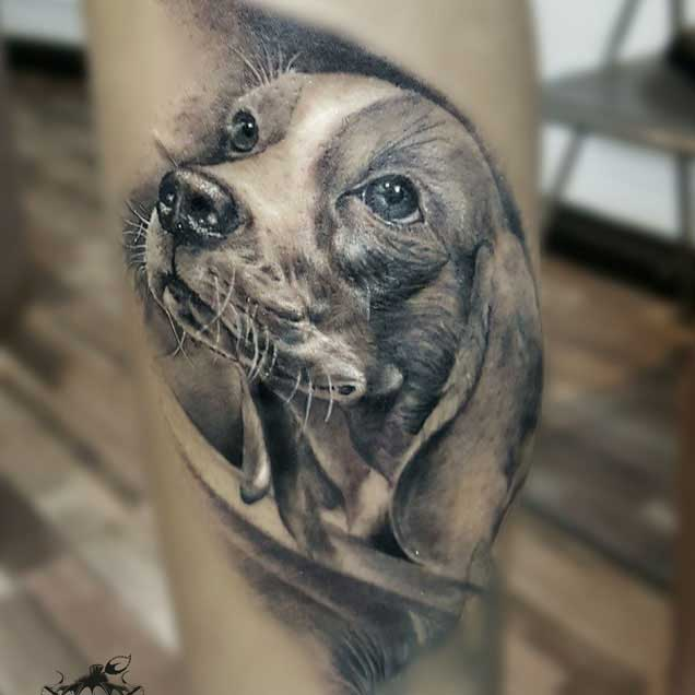 Realistic Dog Portrait Tattoo