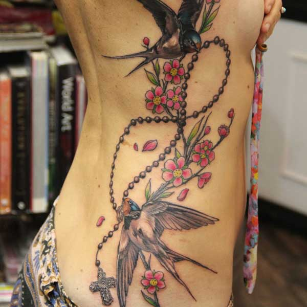 Swallow Birds Ribcage Tattoo